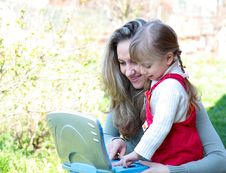 Free Mother And Daughter Outdoor With Notebook Stock Image - 19297081