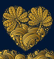 Gold Emblem Heart Stock Photo