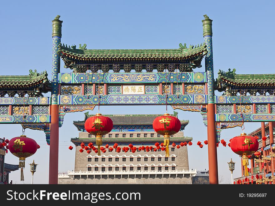 Chinese stone decorated archway