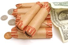 Free Rolled Pennies & $1 Bill Royalty Free Stock Photos - 1930108
