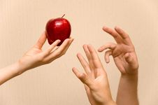 Free Hands And Apple Royalty Free Stock Image - 1930706