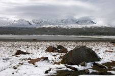 Winter Lake And Mountains. Stock Photography