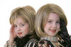 Free Twin Glamour Models With Wigs Stock Image - 1935851