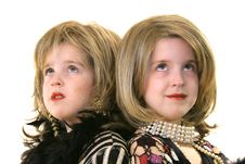 Free Twin Glamour Models With Wigs Looking Up Stock Images - 1935904