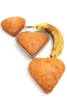 Free Banana Bread Hearts In A Line Stock Photo - 1938410