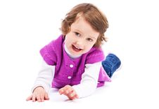 Free Little Girl On White Background Royalty Free Stock Photography - 19300187