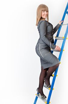 A Woman On A Stepladder Stock Photography