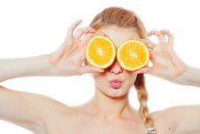 Free Young Woman With Oranges Royalty Free Stock Images - 19300829