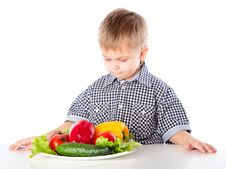 Free A Boy And The Plate Of Vegetables Royalty Free Stock Image - 19301116
