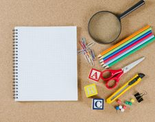 Free Various School Accessories On сorkboard Royalty Free Stock Photo - 19301585