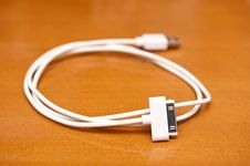 Free Rolled White USB Cable Royalty Free Stock Photography - 19301977
