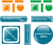 100 Competence Button Set Stock Photo