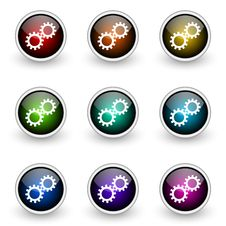 Free Gear Button Set Stock Photography - 19302842