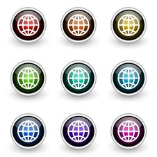 Free Globe Button Set Royalty Free Stock Images - 19302859