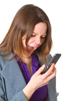 Free Business Woman Screaming In Her Cellphone Stock Image - 19303651
