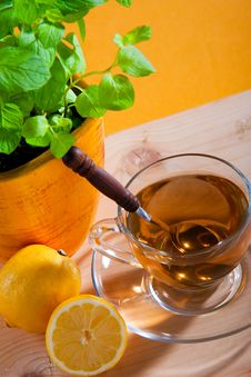 Free Cup Of Herbal Tea And Lemon Royalty Free Stock Photos - 19304058