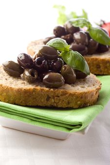 Free Bruschetta With Olives Stock Photography - 19305232
