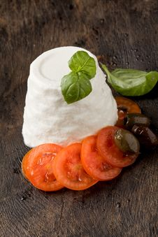 Ricotta Cheese With Tomatoes Stock Photos