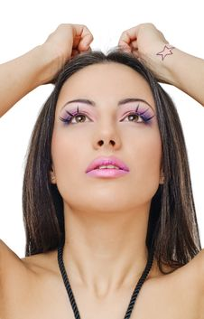 Free Violet Lips And Eyelids Royalty Free Stock Photos - 19306708
