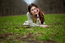 Free Young Sweet Girl Lying In A Grass Stock Photos - 19308213