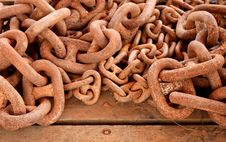 Free Rusty Chain On Wooden Background Royalty Free Stock Photography - 19308797