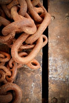 Free Rusty Chain On Wooden Background Stock Image - 19308871