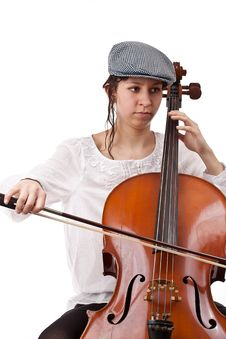 Girl Playing Cello Stock Photography