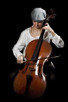 Girl Playing Cello Royalty Free Stock Images