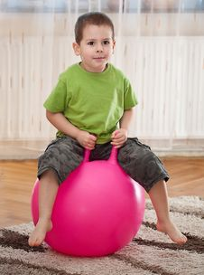 Boy With Large Ball Stock Photography