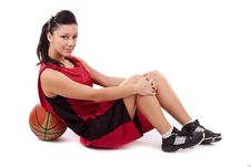 Free Sportswoman With Basketball Stock Photography - 19309502