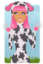 Free Girl In Cow Costume Royalty Free Stock Photo - 19310865