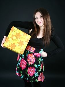 Free Smiling Girl With Present Box Royalty Free Stock Images - 19311009