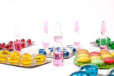 Various Pills And Vials Royalty Free Stock Photography