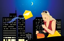 Free Woman With A Mobile Telephone And Bag. Night City Stock Photos - 19313253