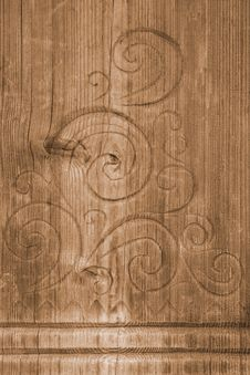 Free Carving On Old Wooden Board Royalty Free Stock Photography - 19313517