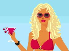 Free Girl With A Cocktail On The Beach. Royalty Free Stock Images - 19313549