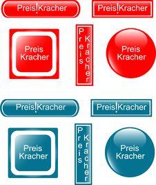 Web Button Preiskracher Set Royalty Free Stock Images