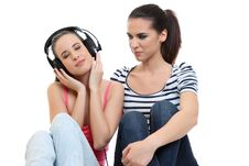 Free Young Woman Listen To Music On Earphone Stock Photos - 19314943