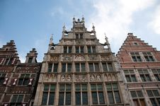 Historic Gable Houses In Ghent, Belgium Stock Images
