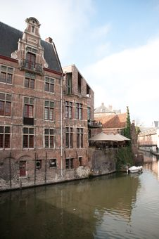 Historic Houses At The Waterfron In Ghent, Belgium Stock Photography