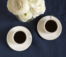 Free Coffee And Roses Royalty Free Stock Photo - 19316885