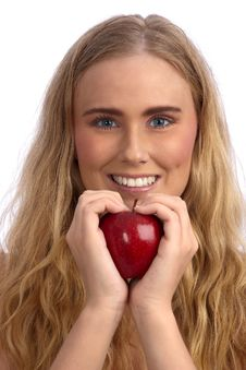 Free Beautiful Caucasian Woman Holding Red Apple Royalty Free Stock Image - 19317406