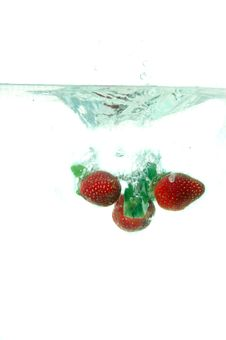 Free Strawberries Splash Into Water Royalty Free Stock Images - 19317849