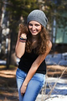 Free Beautiful Smiling Girl In A Blue Beret Royalty Free Stock Photography - 19317897