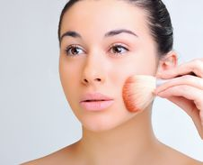 Free Beautiful Woman Applying Make-up Royalty Free Stock Photo - 19318395