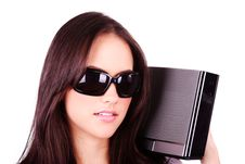 Free Pretty Girl With Modern MP3 Stereo System Isolated Stock Image - 19318491