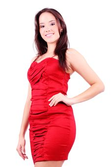 Free Lovely Girl In Red Dress On A White Background Royalty Free Stock Photos - 19318508