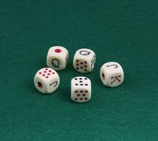 Free Five Dice For The Game Of Poker. Stock Photo - 19319800