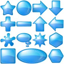 Icons Buttons Blue, Set Royalty Free Stock Photography