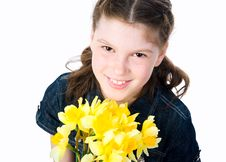 Free Cute Little Girl Giving Flowers Stock Photography - 19320432